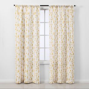 Yellow Vine Light Filtering Curtain Panels (4)